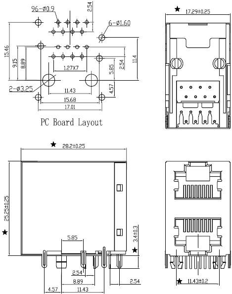 网络接口插座尺寸图