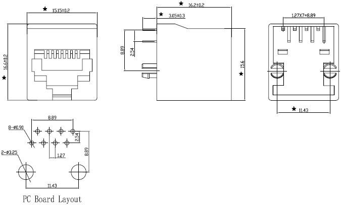 rj45 网络接口插座尺寸图