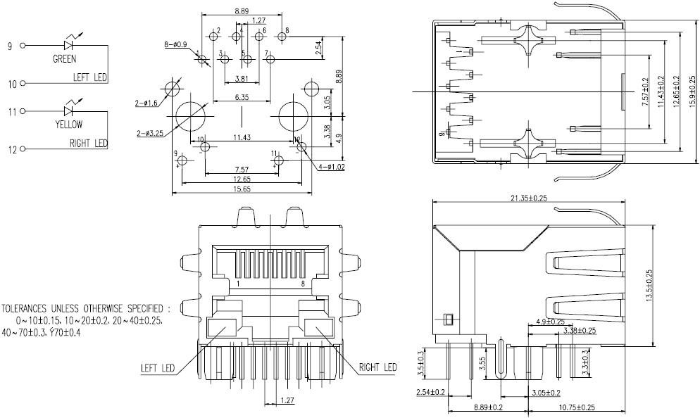 网络接口插座尺寸图 rj45