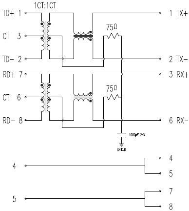 网络接口插座内部结构原理图