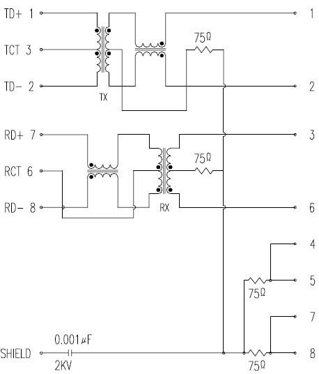 rj45 网络接口插座内部结构原理图