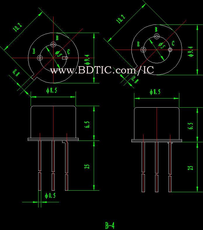 2N3440 型晶体管封装尺寸图