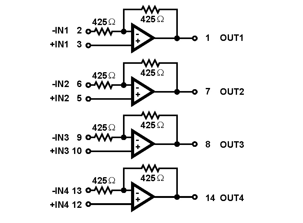 hfa1412  quad  350mhz  low power  programmable gain buffer