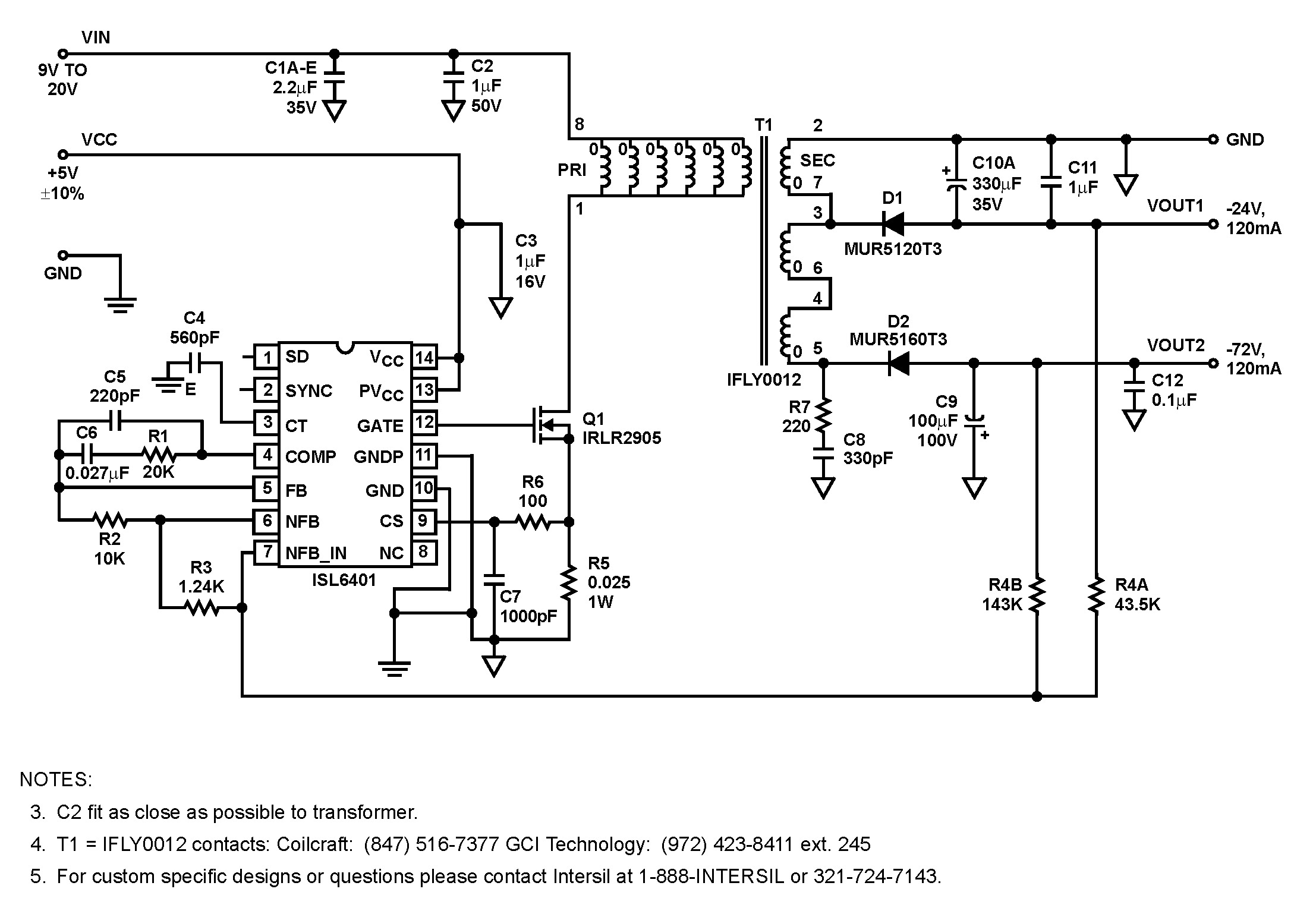 Isl6401  Synchronizing Current Mode Pwm For Subscriber Line Interface Circuits  Slics    Bdtic A