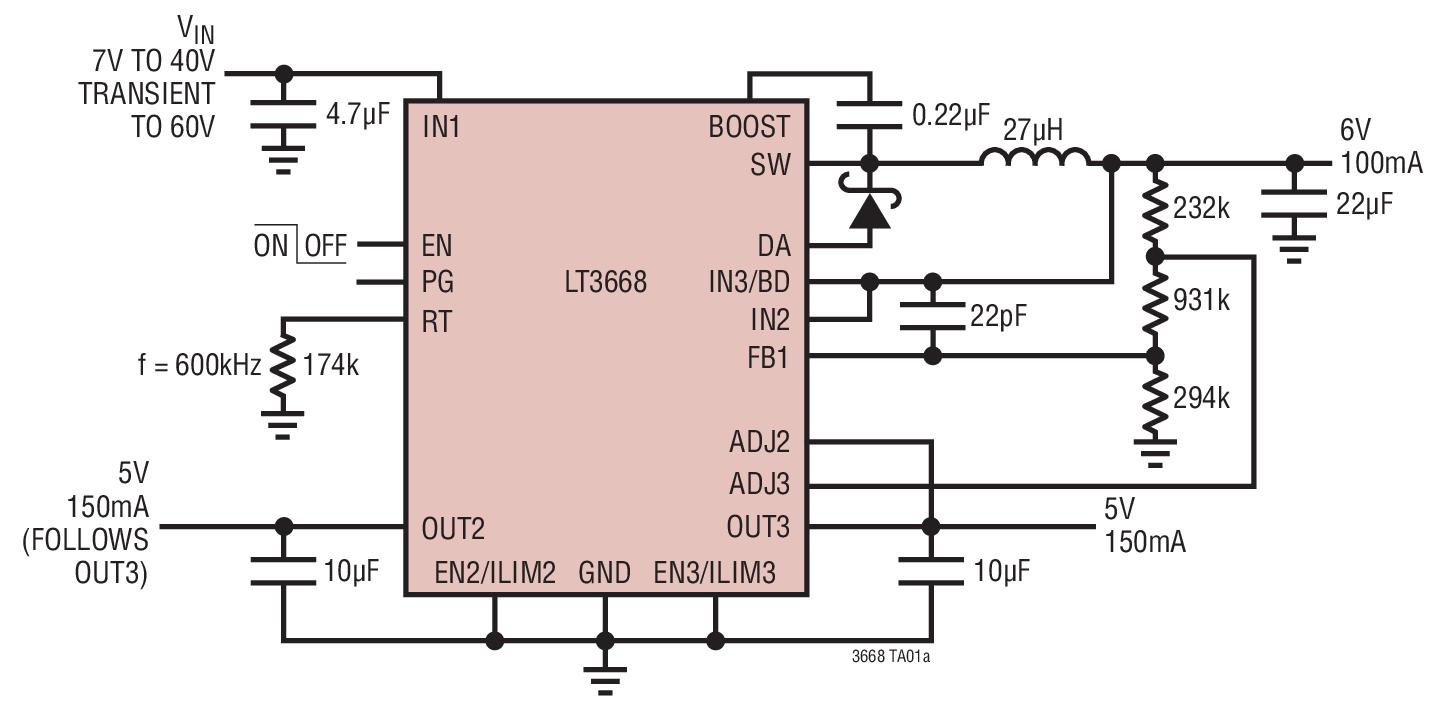 LT3668 是一款单片式三路电源,其包括一个 400mA 降压型开关稳压器和两个 200mA 低压差线性跟踪稳压器 (LDO)。该器件为那些要求一个传感器的电源严格地跟踪一个测量 ASIC 之电源的应用提供了一款完整和坚固的电源解决方案。 每个跟踪 LDO 可提供 200mA 的输出电流和一个 340mV 的典型压差电压,而且每个 LDO 具有一个准确的电阻器可编程电流限值。 内部保护电路包括反向电池保护、电流限制、热限制和反向电流保护。 降压型稳压器包括一个高效率开关、一个升压二极管以及必要的振荡器、
