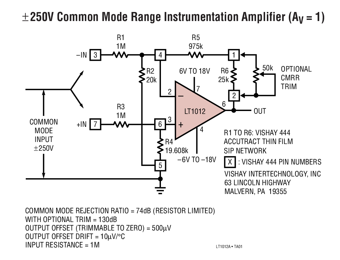 Lt1012 Picoamp Input Current Microvolt Offset Low Noise Op Amp Meter Circuit Typical Application