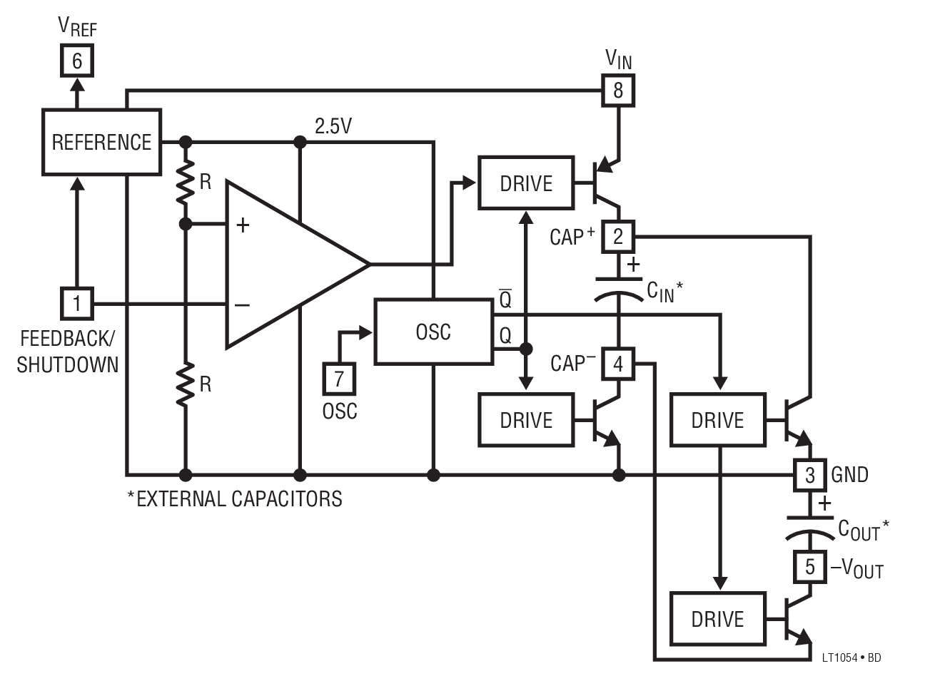 Lt1054 Switched Capacitor Voltage Converter With Regulator Bdtic Negative Circuit Typical Application