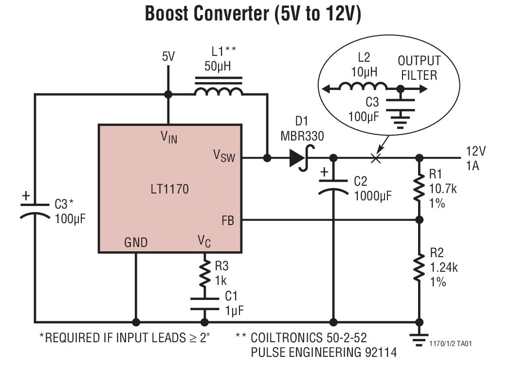 升压型稳压器 内部电源开关 > lt1172  宽输入电压范围:3v 至 60v 低
