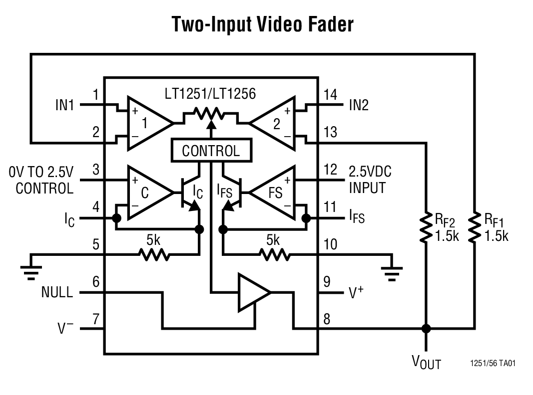 Lt1256 40mhz video fader and dc gain controlled amplifier bdtic lt1256 typical application ccuart Images