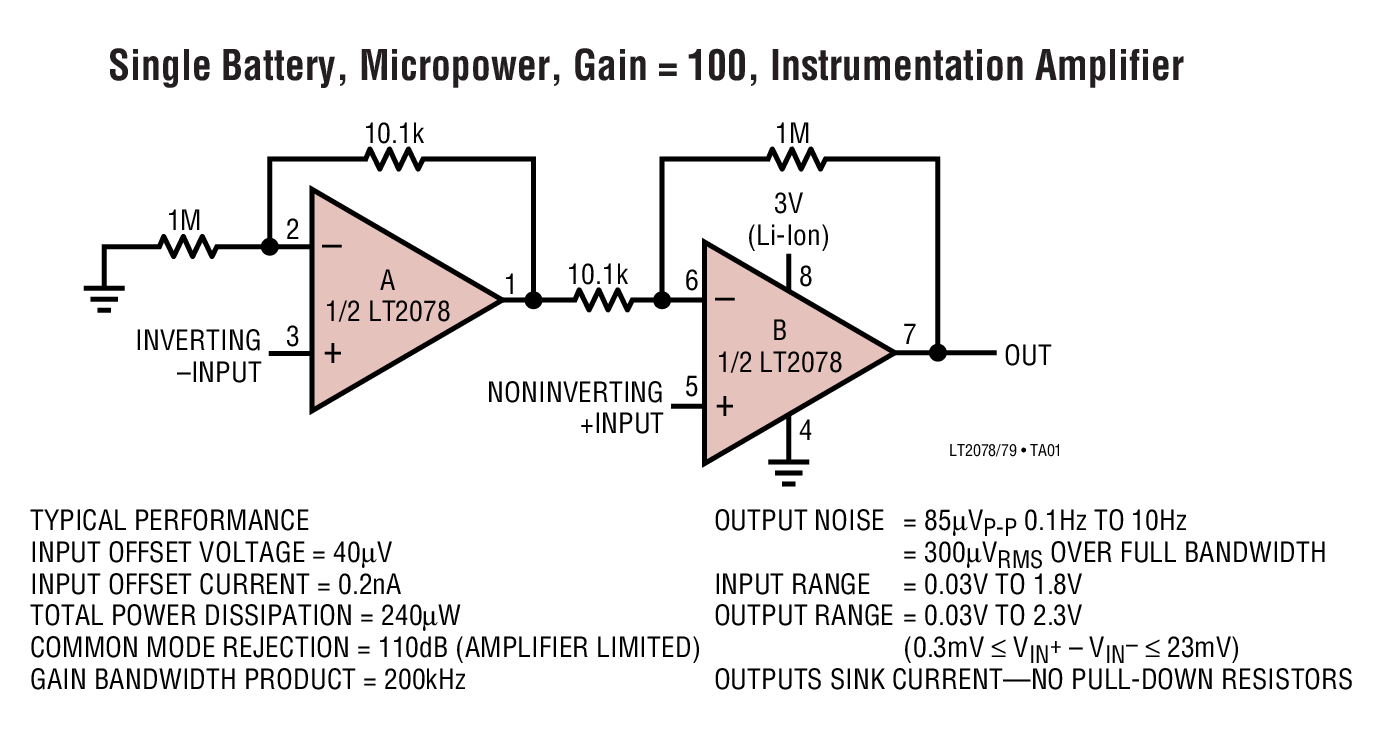 LT2079 - Micropower, Dual and Quad, Single Supply, Precision