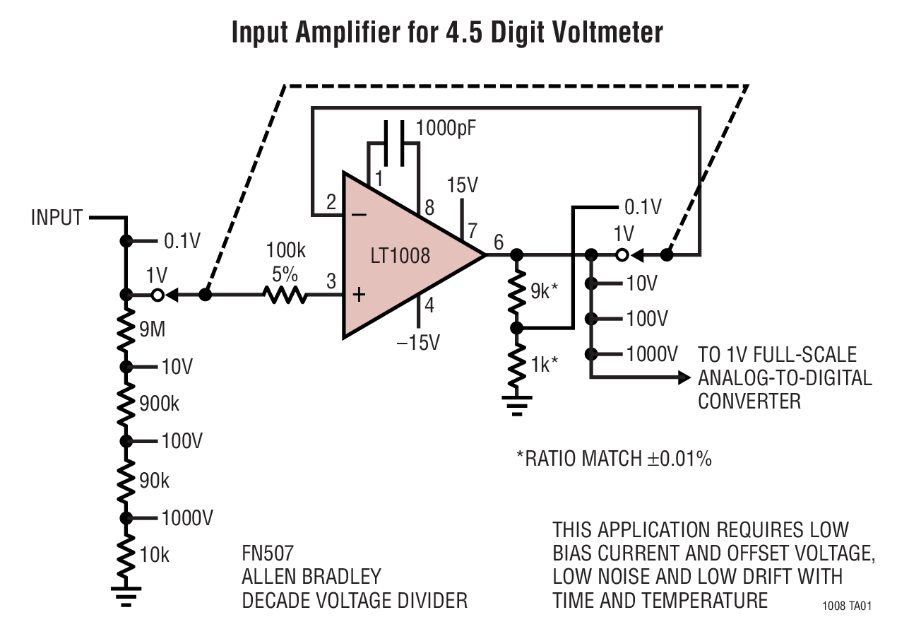 Lt1008 Picoamp Input Current Microvolt Offset Low Noise Op Amp Fast Logarithmic Amplifier Typical Application