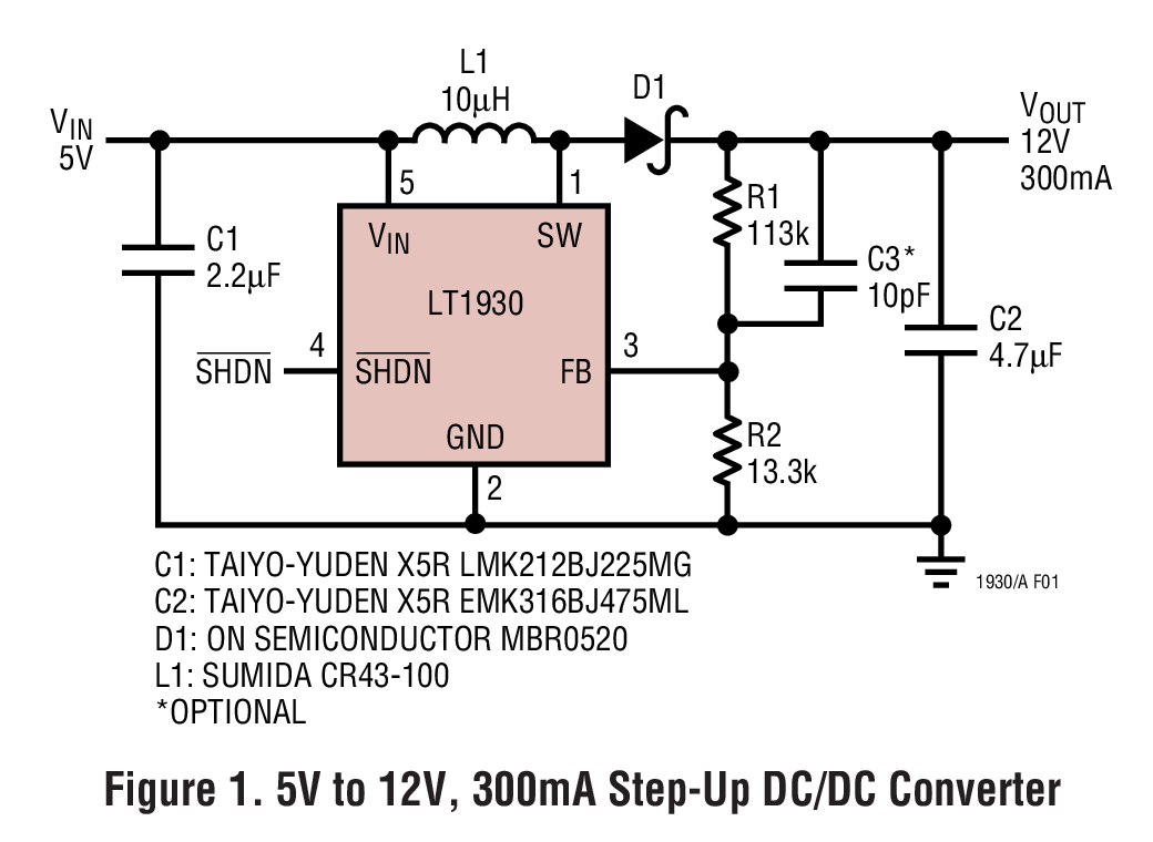 Lt1930 1a 12mhz 22mhz Step Up Dc Converters In Thinsot 12v To 5v Converter Circuit Applications