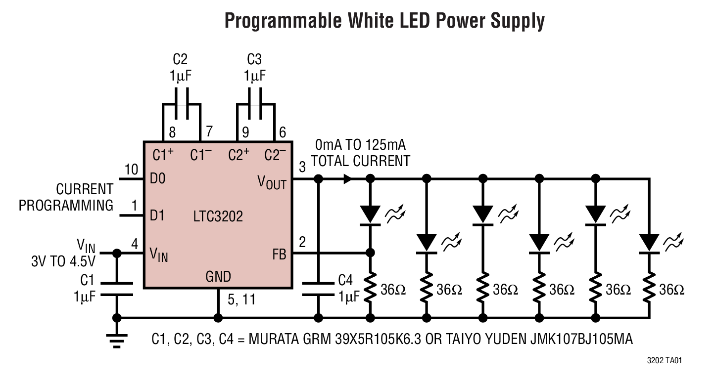 Ltc3202 Low Noise High Efficiency Charge Pump For White Leds Led Driver Using Ltm8042 Module Boost Applications Backlighting Programmable Current Source