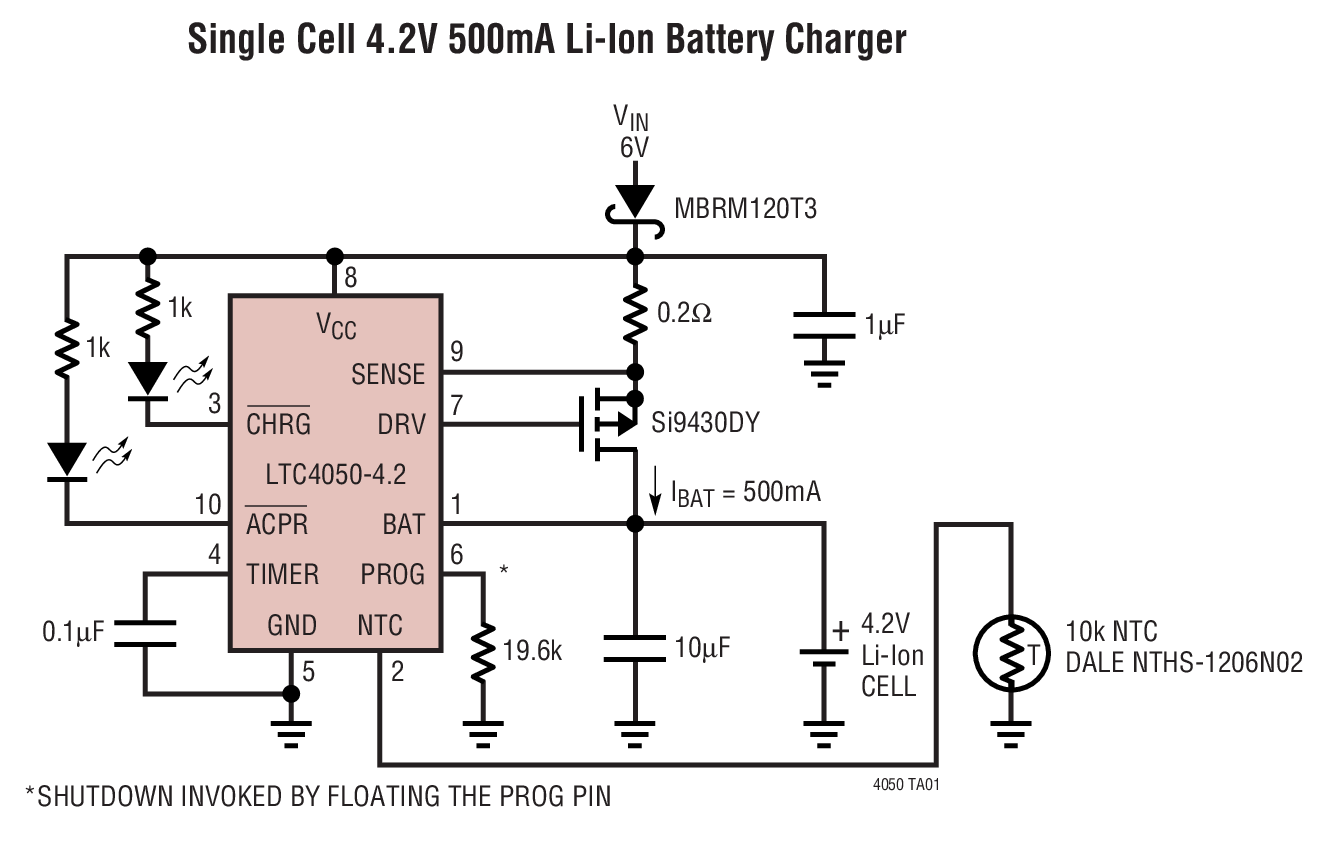Ltc4050 Lithium Ion Linear Battery Charger Controller With Circuit Diagram Applications