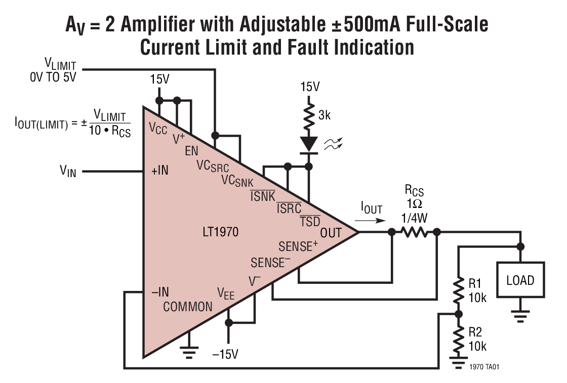 Lt1970 500ma Power Op Amp With Adjustable Precision Current Limit Circuit Typical Application