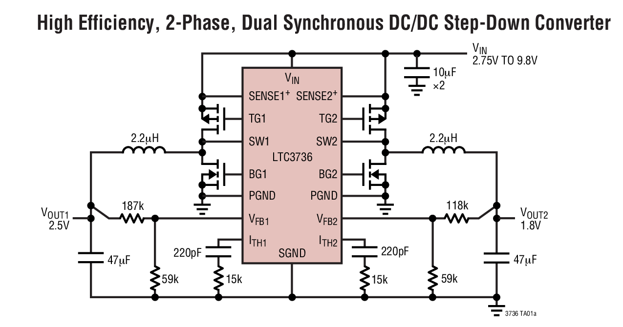 ltc3736 - 具有输出跟踪功能的双通道,两相,no rsense 同步控制器
