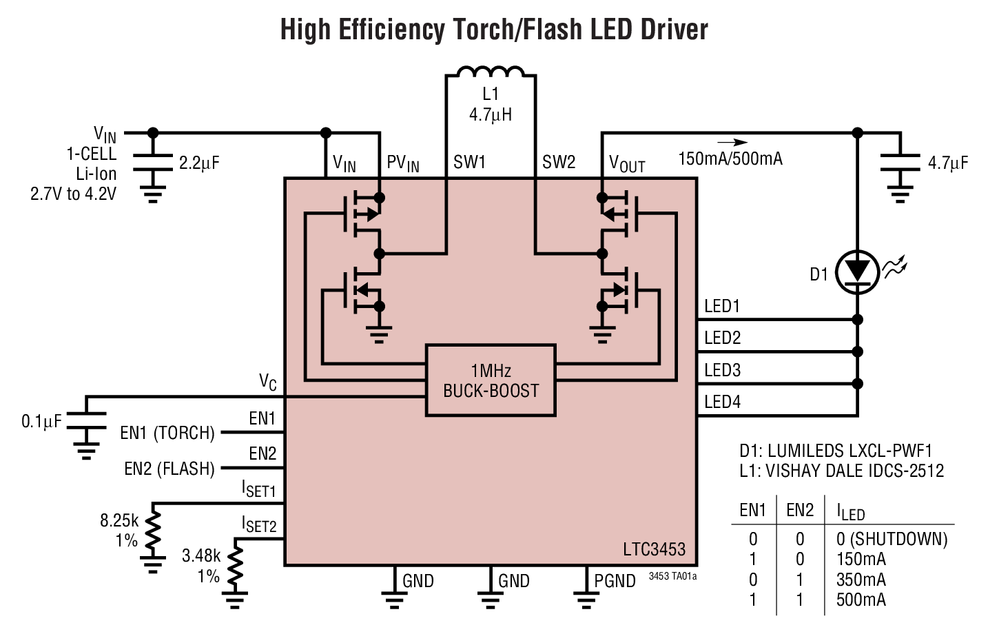 Ltc3453 Synchronous Buck Boost High Power White Led Driver Bdtic Adjustable Applications