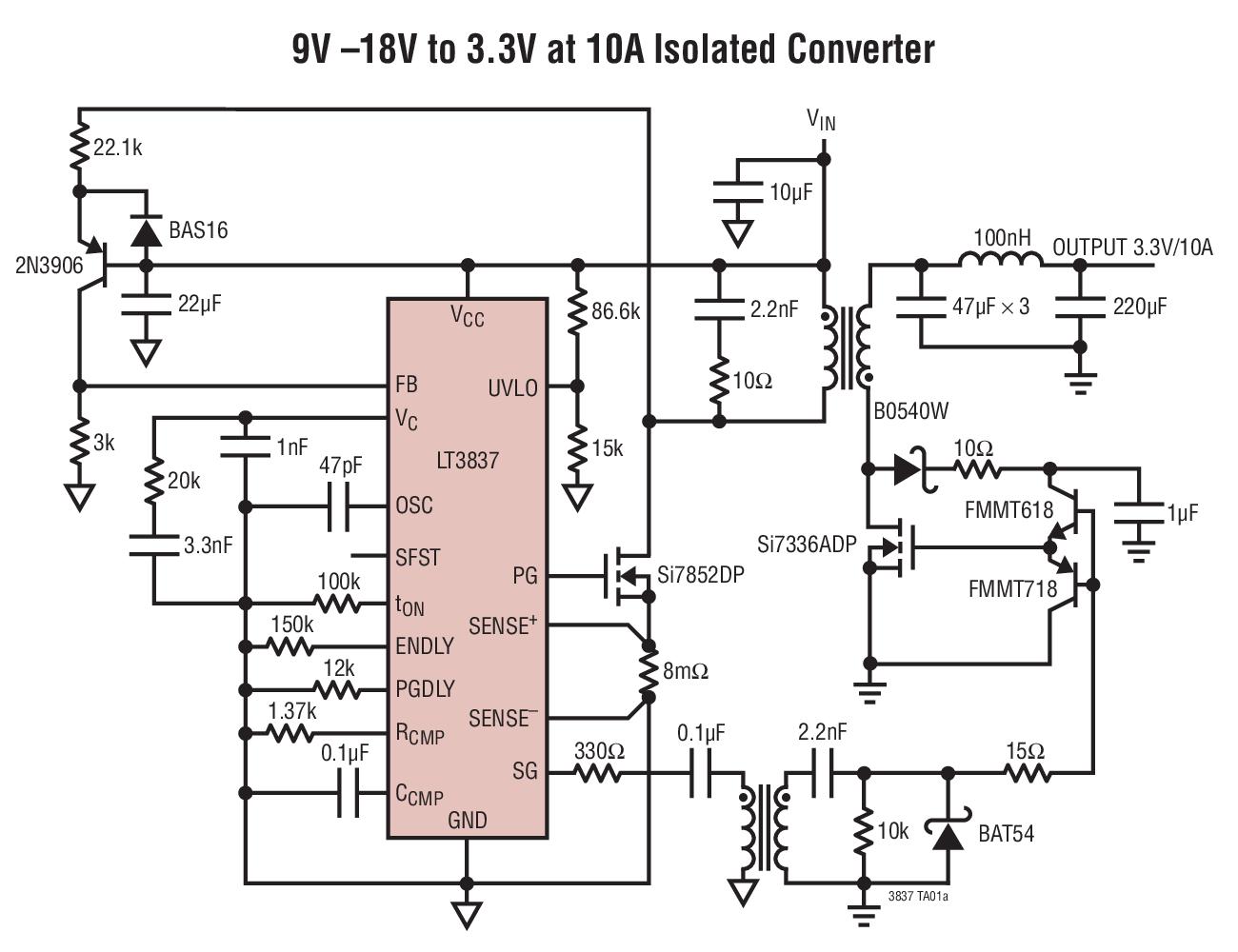 LT3837 是一款隔离型开关稳压控制器,专为中等功率反激式拓扑结构而设计。一种典型应用是 10W 至 60W,该器件从一个 DC 电源来供电。 LT3837 是电流模式控制器,通过在反激期间利用一个变压器绕组来检测副端电压,它可调节一个输出电压。这使得能够在不采用光隔离器的情况下实现严格的输出调节,从而改善了动态响应和可靠性。同步整流提高了转换器效率,并改善了多输出转换器中的输出交叉调整率。 LT3837 工作于强制连续导通模式,该模式改善了多绕组应用中的交叉调整率。开关频率可由用户来设置,并能够在外部