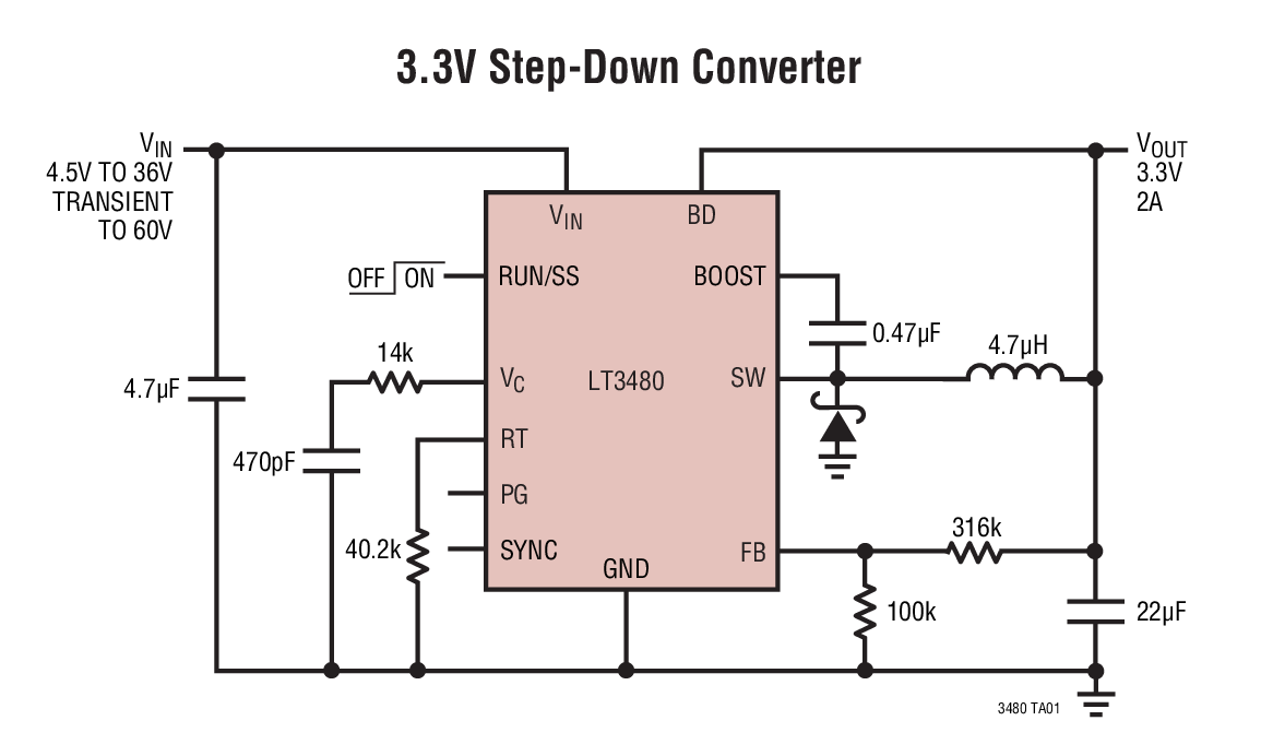 Lt3480 36v 2a 24mhz Step Down Switching Regulator With 70a Of Maxim Integrated Max17505 Synchronous Stepdown Dc Converter Typical Application