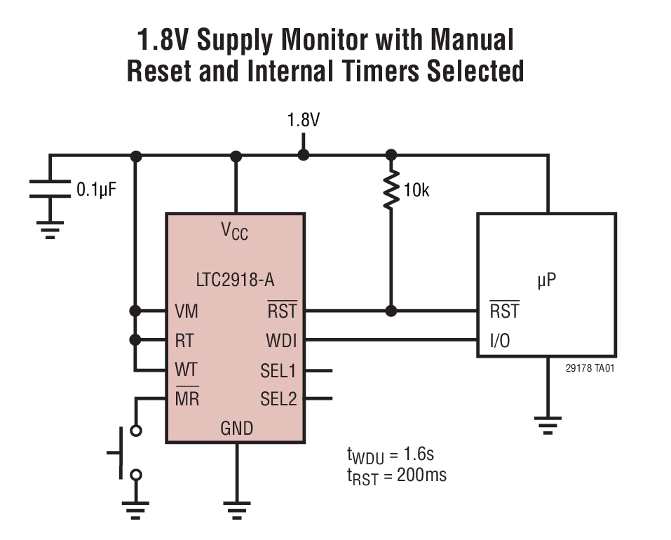 LTC2917 - Voltage Supervisor with 27 Selectable Thresholds and