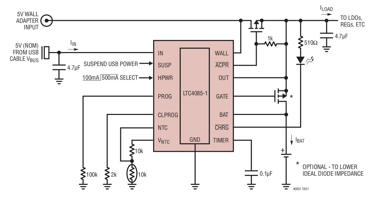 实现输入电源之间的无缝切换:锂离子电池,usb 和 5v 墙上适配器 当