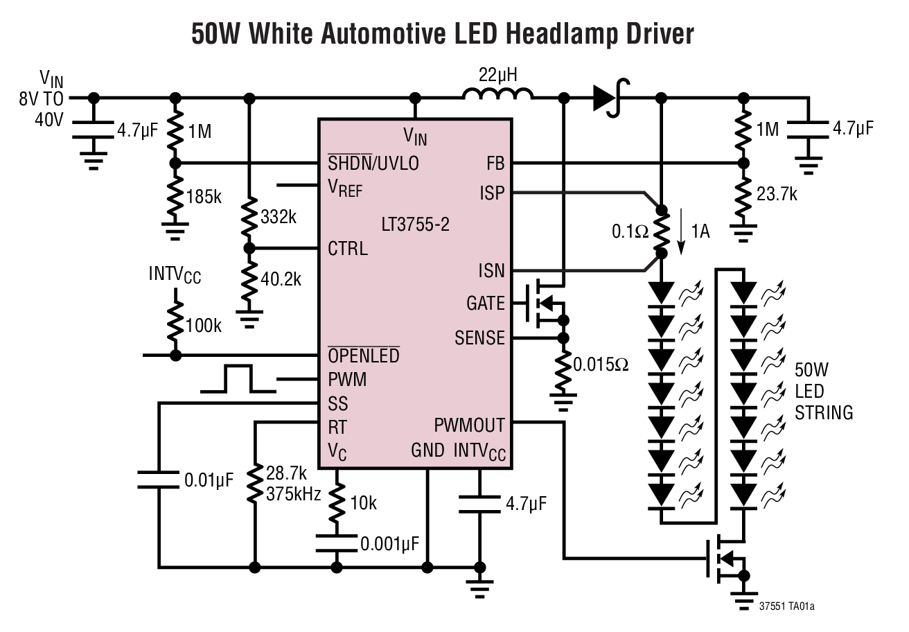 Lt3755 1 2 40vin 75vout Led Controllers Bdtic A Driver Powers Halogen Replacement Typical Application