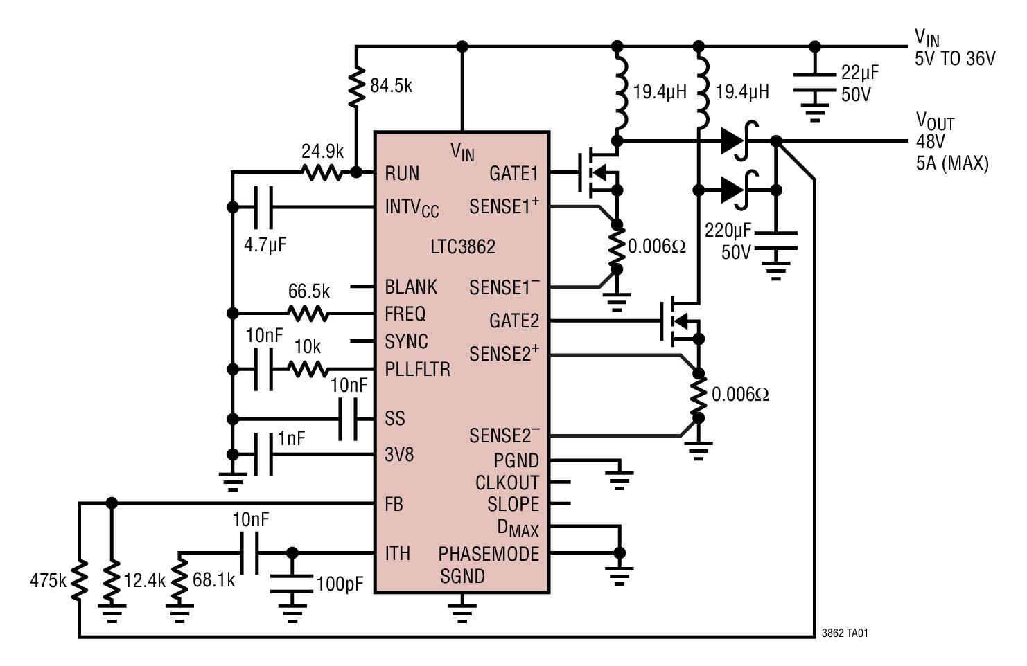 固定频率,峰值电流模式控制 逻辑电平 mosfet 的 5v 栅极驱动 可调的