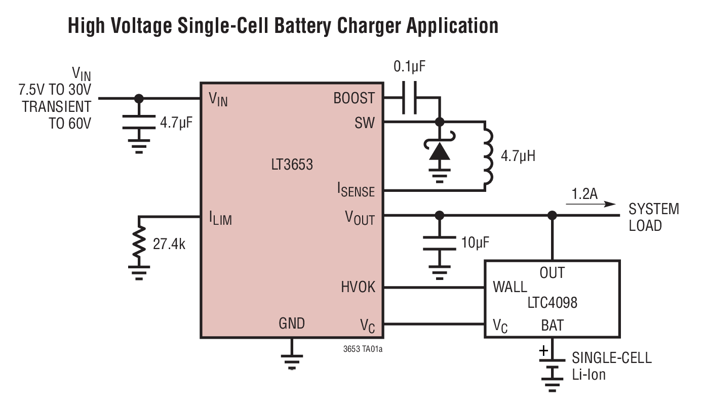 Lt3653 12a Hv Input Regulator With Output Current Limit For High Battery Charger Applications