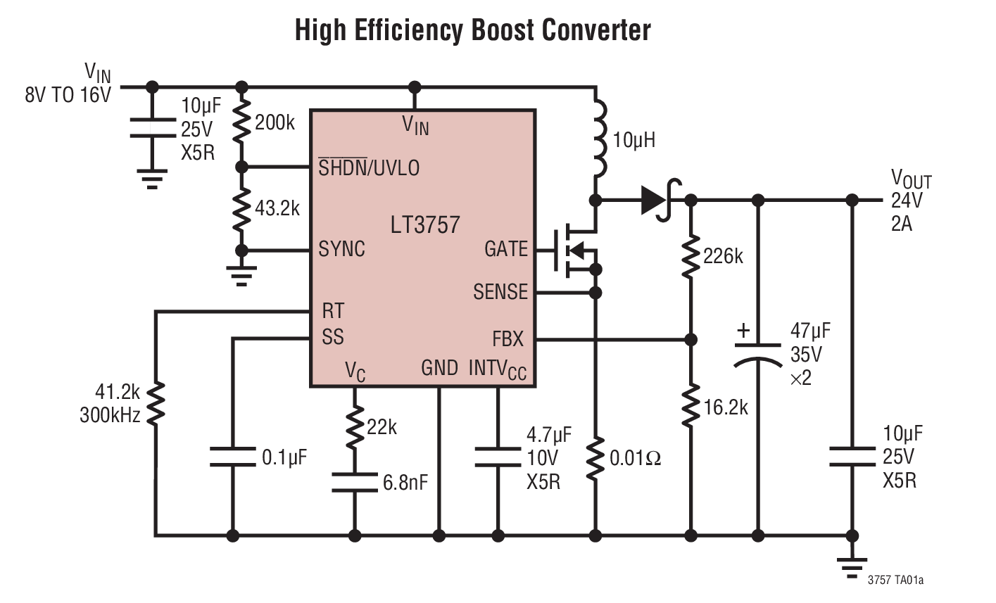Lt3757 Lt3757a Boost Flyback Sepic And Inverting Controller Converter Dc 12v To 24v 2a Circuit Diagram Electronic Circuits Typical Application