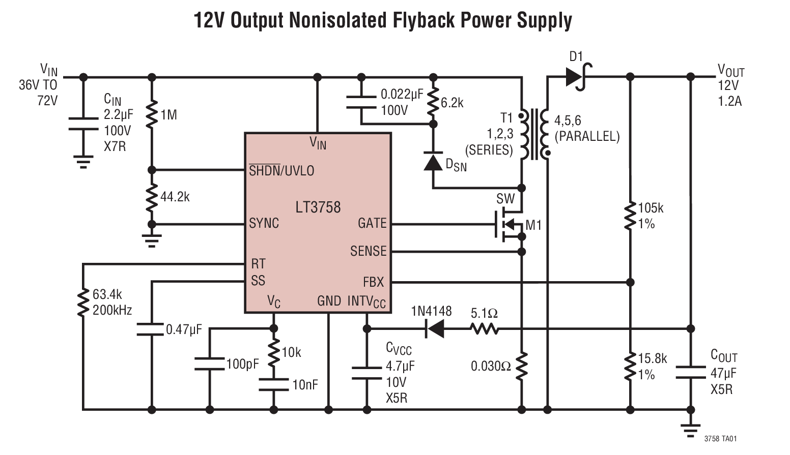 Lt3758 High Input Voltage Boost Flyback Sepic And Inverting Circuit Or To Converter A Negative Positive Typical Application