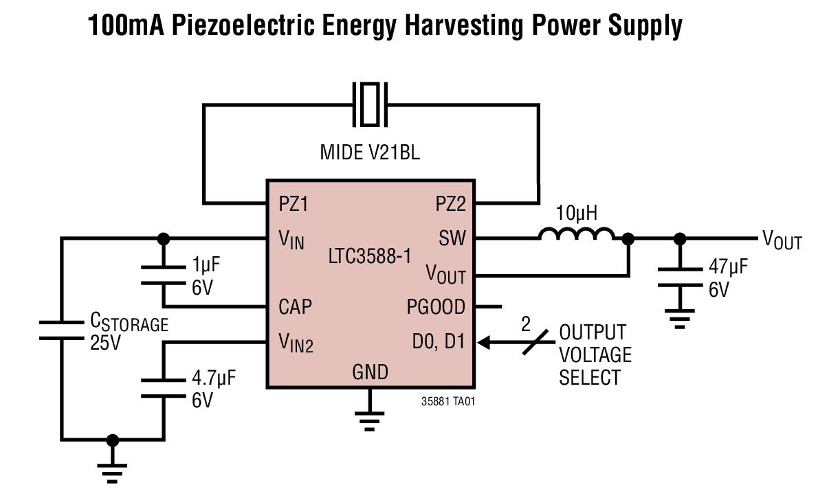 LTC3588-1 集成了一个低损失全波桥式整流器和一个高效率降压型转换器,以造就一款专为高输出阻抗能源 (例如:压电换能器) 而优化的完整能量收集解决方案。一种具有一个宽迟滞窗口的超低静态电流欠压闭锁 (UVLO) 模式允许电荷在一个输入电容器上积聚,直到降压型转换器能够有效地将一部分存储电荷转移至输出为止。当处于调节模式时,LTC3588-1 将进入一种睡眠状态,在该状态中,输入和输出静态电流都非常小。降压型转换器根据需要接通和关断,以保持调节作用。 可通过引脚来选择 4 种输出电压 (1.