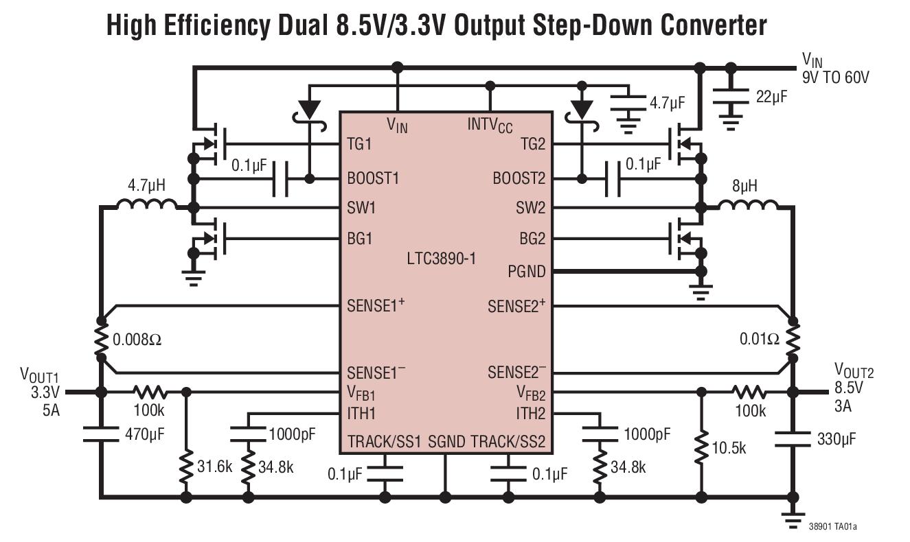 ltc3890-1 - 60v,低 iq,双通道,两相,同步降压型 dc/dc 控制器