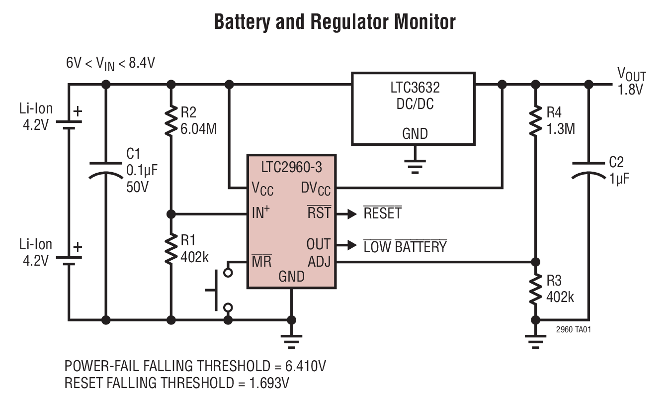 Ltc2960 36v Nano Current Two Input Voltage Monitor Bdtic A Typical Application