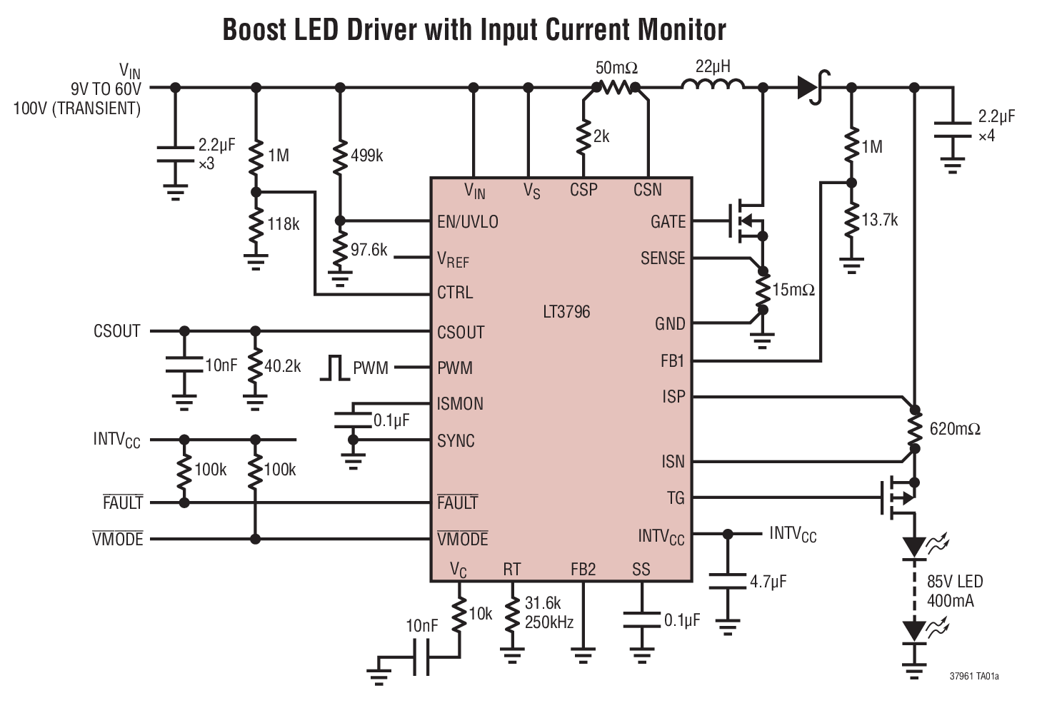 Lt3796 1 100v Constant Current And Voltage Circuit Typical Application