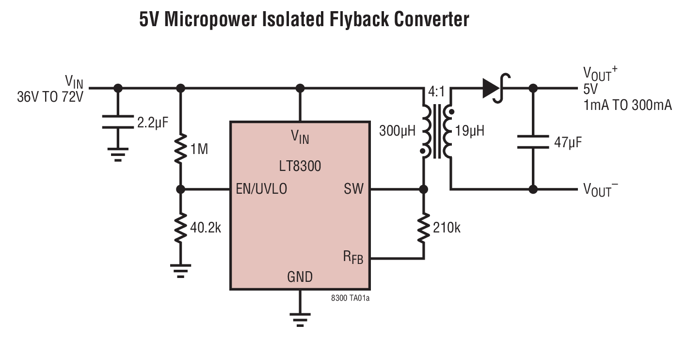Internal Wiring Diagram Of Fsv20a001 Flyback Smart Diagrams 72v Lt8300 100vin Micropower Isolated Converter With