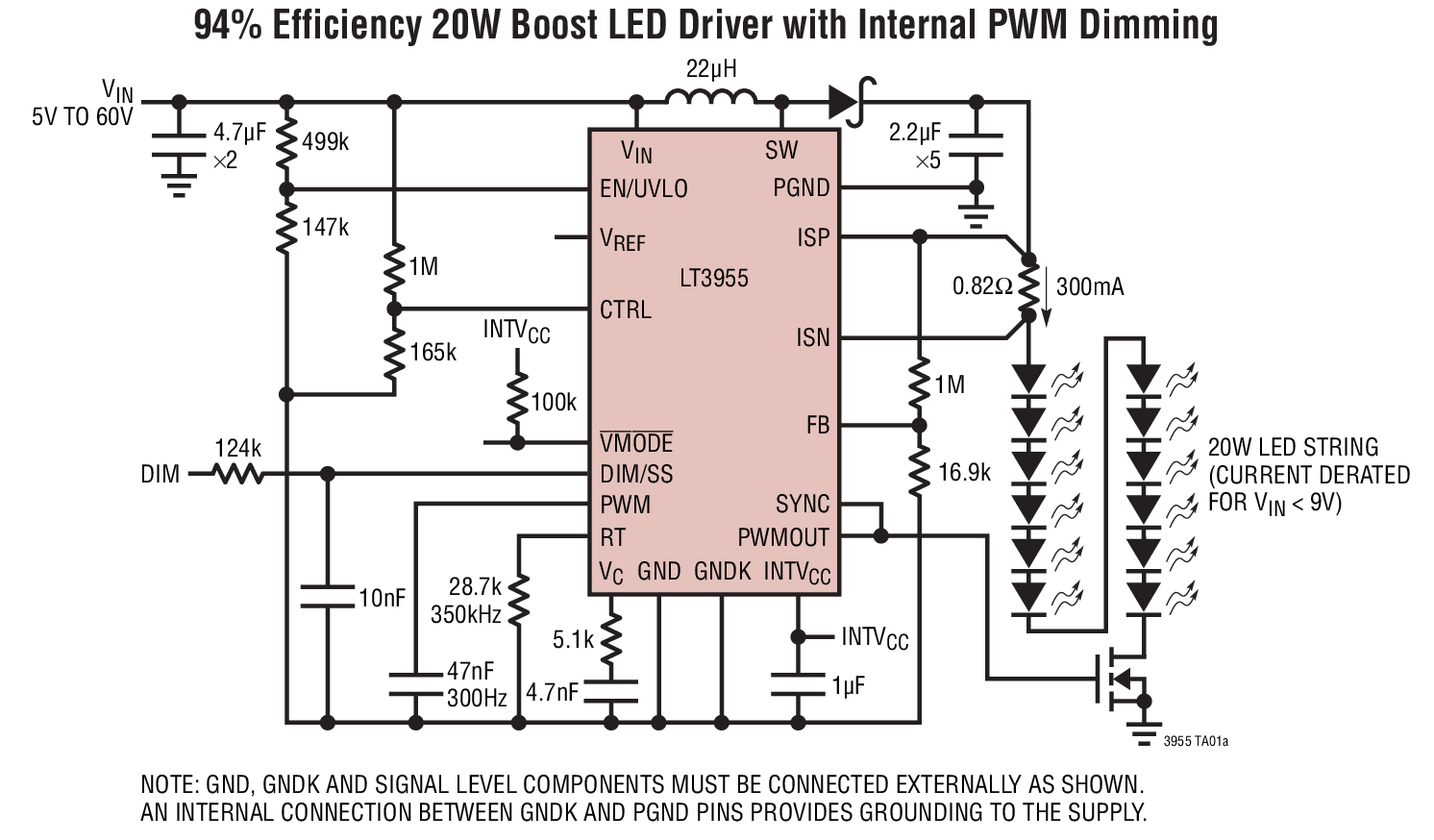 High Voltage Boost Led Controller Provides 3000 1 Pwm Dimming Ratio