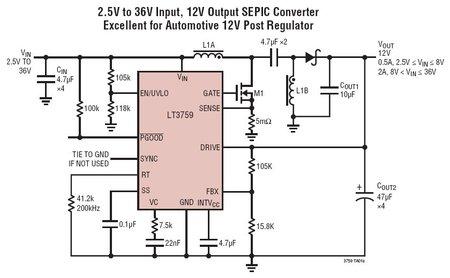 lt3759 宽输入电压范围升压 / sepic / 负输出控制器