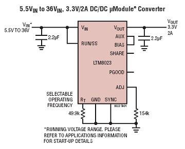 ltm8023 2a,36v dc/dc 降压型 module 稳压器
