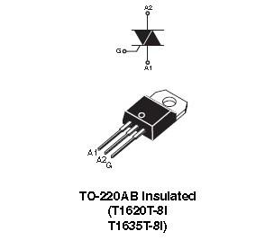 T1635T-8I  STM  Triac  800V  16A  35mA  Snubberless™  TO220  NEW  #BP 4 pcs